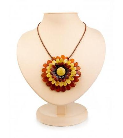 """Necklace with a pendant-brooch on a cord """"Multicolored Chrysanthemum"""""""