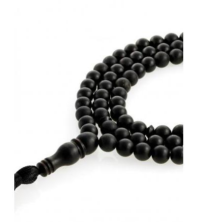 "Man's beads for 99 beads-balls made of natural molded black amber ""Cuba"""