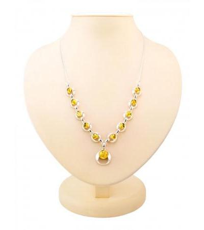 """Beautiful silver necklace with natural lemon amber """"Orion"""""""