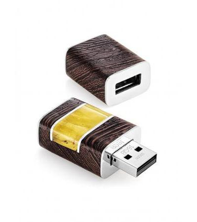 """Flash card 16 Gb made of wood and natural amber """"Indonesia"""""""