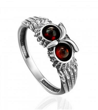 """Thin unusual ring made of silver, decorated with cherry amber """"Owl"""""""