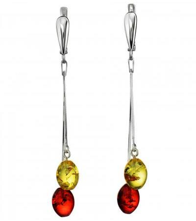 """Bright elongated earrings """"Rowan"""" from natural amber of different shades"""