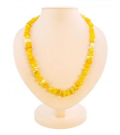 "Beautiful beads made of natural honey amber ""Large pebble"""