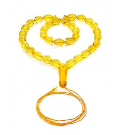Small rosary-olives made from natural whole lemon amber
