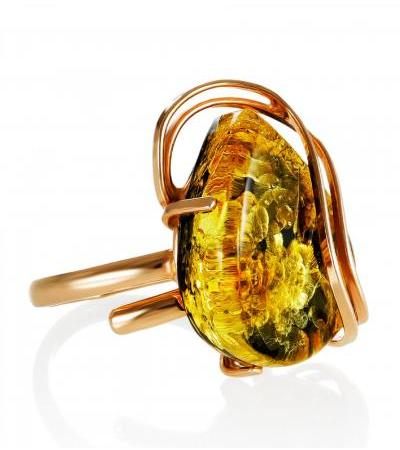 """Luxurious ring with green amber in a gilded setting """"Rialto"""""""