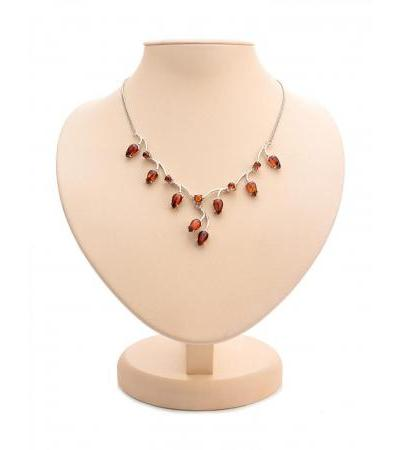 "Beautiful graceful necklace made of silver and natural solid amber ""Jasmine"""