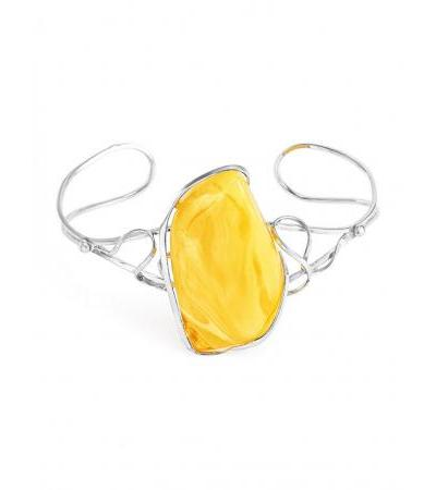 """Elegant silver bracelet with large natural honey-colored amber """"Rialto"""""""