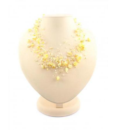 """Necklace made of natural amber and beads """"Lukomorye air"""" white"""