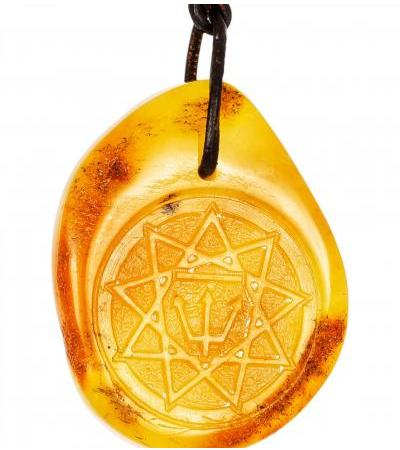 """Slavic palace """"Raven"""". Amber pendant with carving"""
