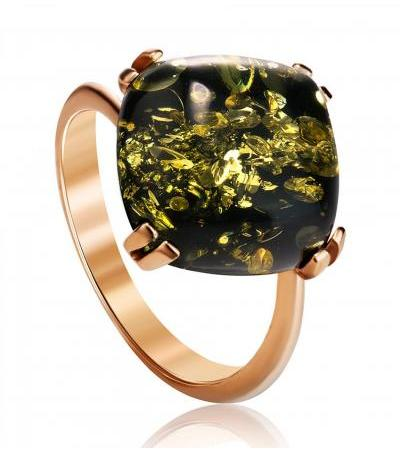 """Bright ring """"Byzantium"""" made of gilded silver and sparkling green amber"""