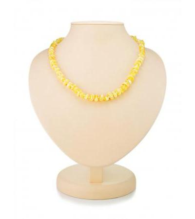 """Delicate beads made of natural amber """"Round honey pebbles"""""""
