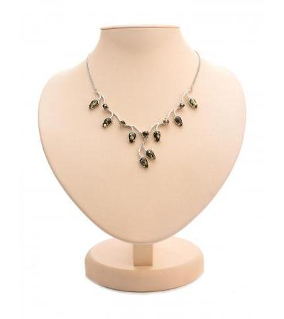 "Exquisite necklace made of silver, decorated with green amber ""Jasmine"""