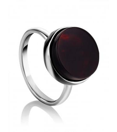 """Silver ring with cherry-colored amber """"Furor"""""""