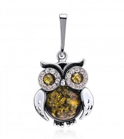 """Pendant made of silver and natural green amber """"Owl"""""""