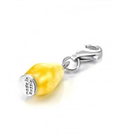 Matryoshka® honey amber carabiner pendant