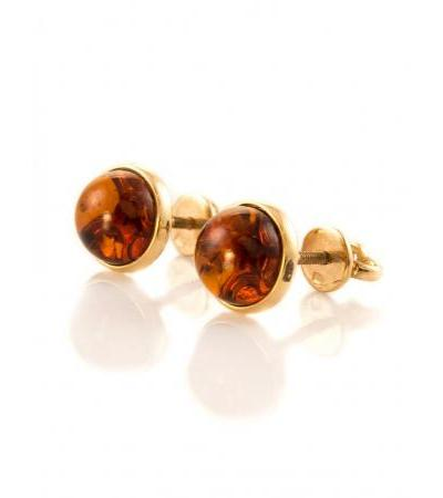 "Gold earrings-studs ""Berries"" with natural amber cognac color"