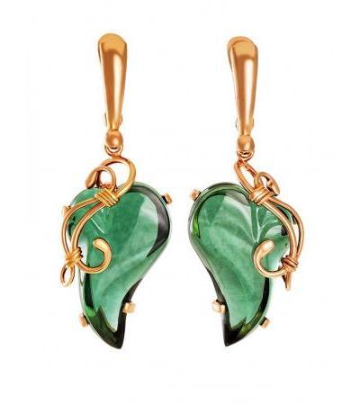 "Luxurious evening earrings ""Serenade"" with transparent tourmaline"