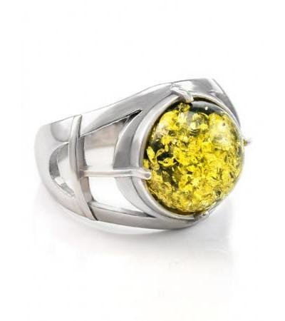 """Silver ring with a round insert of natural green amber """"Caesar"""""""