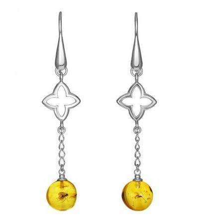 "Unusual elongated earrings made of silver and amber with insects ""Clio"""